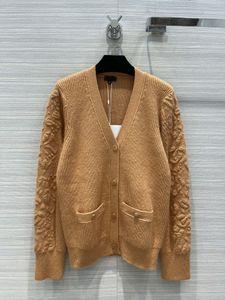 Suéteres de la pista de Milán 2021 otoño v cuello largo manga larga impresa suéter de mujer gama alta jacquard Cardigan Diseñador de ropa 0725-7