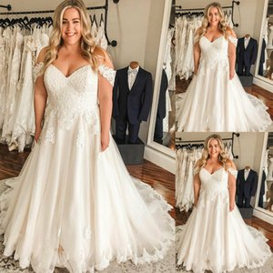 A Line Wedding Dresses with Sweep Train Lace Appliques Bride Dress zipper Back Wedding Gowns