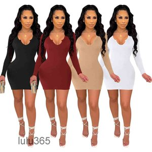 solid color Women Clothing Dresses Plus Size 2021 Deep V Neck Long Sleeve Knitted Skinny Dress lulu365