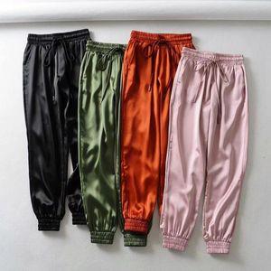 Summer Satin Cargo Pants Women Europe Loose Casual Sport Joggers Streetwear Women's & Capris