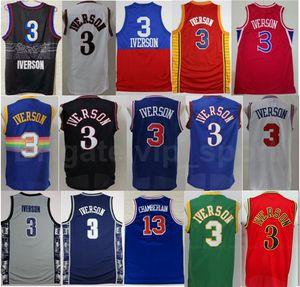 Georgetown Hoyas College Allen Iverens Jerseys 3 Männer Basketball Wilt Chamberlain 13 Blau Schwarz Weiß Rot Grün Gelb Gute Qualität