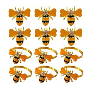 12Pcs Beautiful Bee-Shaped Napkin Ring, Ring With Oil Drops And Diamonds,Table Decoration Rings