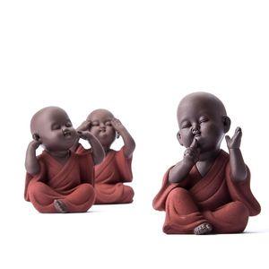 A mano Buda Zisha Buda Monk Accesorios para mascotas Kung Fu Juego de té K001 210329