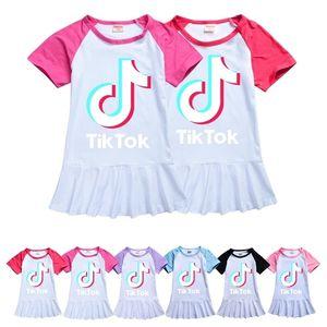 100-160 Summer Baby Girls Dress Raglan T-shirt Skirt Sports Casual Tiktok Tik Tok Letters Print Cute Ruffled Dress Kids Clothes G36KRB1