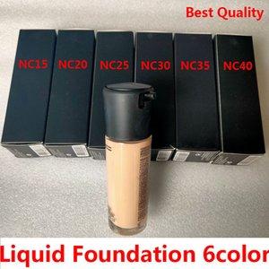 브랜드 Liquid Foundation 6Color SPF15 NC15 NC20 NC25 NC30 NC35 NC40 35ML Concealer Brighten
