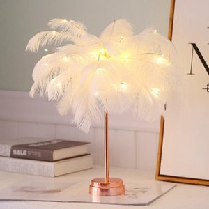 Table Lamps USB Dual-Purpose Room Decoration Light Bedroom LED Feather Night Battery Box Creative Gift Lamp