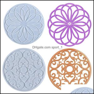 Jewelry Tools & Equipment Jewelrysile Large Flower Tray Mold Pot Holder Coaster Epoxy Resin Casting Molds For Diy Home Decoration Drop Deliv