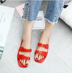 2021 Woman Slippers Summer Sandals Rivets big bowknot Flip Flops Beach Sandalias Femininas Flat Jelly Designer