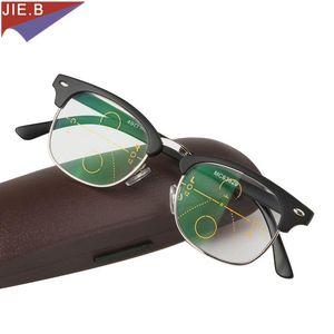 Moda vintage zoom Asintoticamente multi-focale Uomo Progressive Leggendo occhiali da lettura di alta qualità Presbiopia iperopia Occhiali da sole bifocali