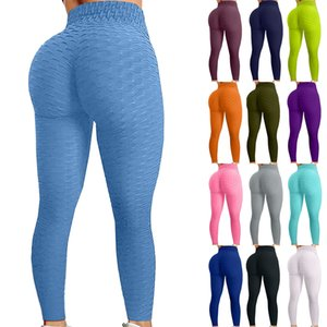 Womens Leggings Bubble Hip Lifting Exercise Fitness Running High Waist Pants Gym Workout Legging Seamless Sports R5
