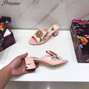 PROWOW Sandalias para mujer Luxury Designer Summer Zapatos de verano para mujer Cuero genuino Tacones de punta abierta Zapatillas