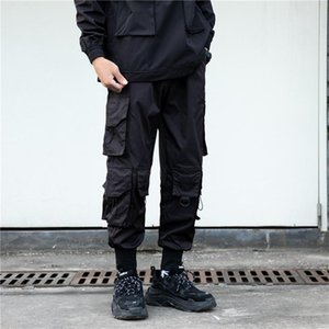 Tactics noirs Cargo Pantalons Hommes Fashion Streetwear Joggers Crayon Gross Poche Design Pantalons Elastic Taille HG091 Hommes
