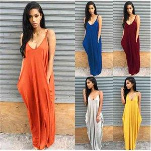 Tasarımcılar Elbiseler Kadın Yaz Gündelik Elbise Sling Kısa Etek Cep 6 Renkler