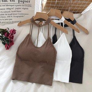 Camisoles & Tanks CHRLEISURE Halter Neck Tube Top Female Backless Solid Fashion Crop Sexy Thin Shoulder Strap Women's Underwear