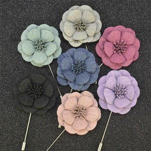 Pins, Brooches Fashion Men Brooch Flower Lapel Pin Suit Boutonniere Fabric Yarn 7 Colors Button Stick For Wedding