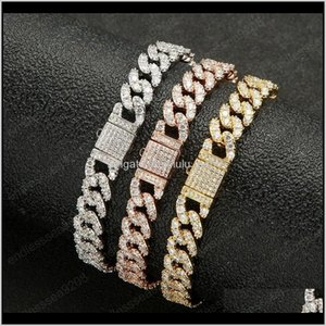 Charming 8Mm Width Gold Plated Bling Cz Cuban Anklet Bracelets Link Chain Girls Women Party Wedding Gift Jmloa Anklets Vlp3C
