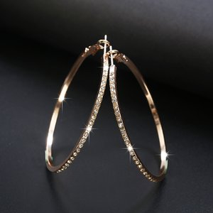 2018 Fashion Hoop Earrings With Rhinestone Circle Earrings Simple Big Circle Gold Color Loop For Women 1284 Q2