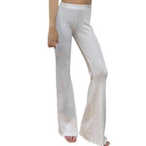 Women's Pants & Capris Women Solid Color Flared Pants, White Elastic High Waist BuLifting Trousers, S  M  L
