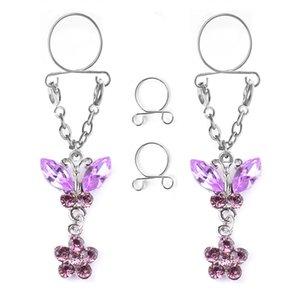 Nipple jewelry horse eye butterfly false breast ring no hole breast ring clip breast nail false nipple jewelry autumn new products