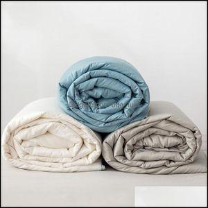 Comforters Bedding Supplies Textiles Home Gardencomforters & Sets Soybean Fiber Quilt Airable Er Pure Cotton Spring And Autumn Duvet Insert