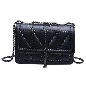 JH Women Trendy Square Rivet Fashion Crossbody Bag Large Capacity Chain Black All Seasons Women's Handbag