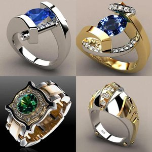 Wedding Rings Vintage Male Female Crystal Blue Red Stone Ring Luxury Silver Gold Promise Engagement For Men And Women