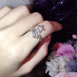2pcs T107 925 Sterling Silver Comet Star Cluster Rings with Full Diamond Personalized Movable Index Finger Female Fashion European and American Open Ring
