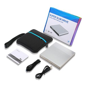 External USB DVD drive DVD-RW CD-RW Burner slim Optical Drive CD DVD ROM player Writer For Windows 7 8 10 MAC OS linux+drive bag