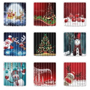 Merry Christmas Shower Curtains Snowman Santa Claus Snowflake Bathroom Frabic Polyester Waterproof Bath Curtain