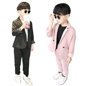 Children Summer New Pink Suit Set Boys Handsome Party Birthday Casual Costume Kids Blazer Pants 2PCS Clothing Sets