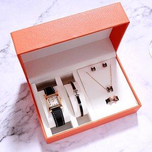 Montre élégante de la mode de luxe pour femme 2021 carré H Shape Cuir poignet Montres Bracelet Collier Bijoux Bijoux Casual Dame Cadeau Set Montre-Bracelet