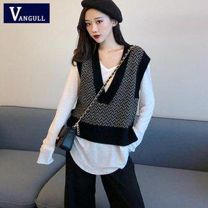 Vangull Frauen Sleeveless Pullover Weste Herbst 2021 Koreanische Stil Vintage Stilvolle Farbe Patchwork V-Ausschnitt Gestrickte Wollpullover Frauenwesten