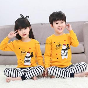 Pajamas Teens Boys Girls Autumn Stripe Long Sleeve Children's Clothing Sleepwear Cotton Pyjamas Sets For Kids 4 6 8 10 12 Years