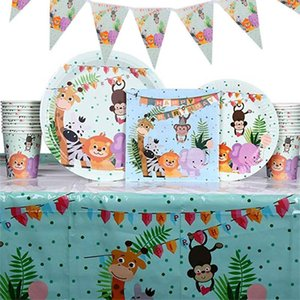 Disposable Dinnerware Zoo Animals Party Plates Napkins Flag Cup Jungle Lion Elephant Giraffe Tableware For Kids Happy Birthday Supplies