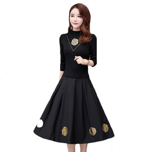 dress Seven Long-Sleeved Women's Middle Sleeves Mace Torn Neck Autumn Embroidery Winter Clothes Dressed in Male 3XL LQ309 J5P6