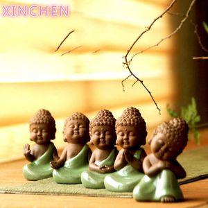 Xinchen céramique artisanat créatif maison décoration salon feng shui ornements mignon petit bouddha zen comme pots meubles 210318
