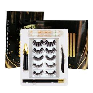 5Pairs Set Invisible Magnet False Eyelashes with Tools makeup remover sweb Eyebrow eyelash Curler Magnetic liquid eyeliner All in 1 set Full Kit