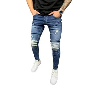 Plus Size Mens Slim-Fit Ripped Pants New Mens Patchwork Jeans Patch Beggar Pants Jumbo Size S-3XL
