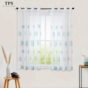 TPS Sheer Window Curtain Short Kitchen Curtain Short Styles Voile Tulle for Bedroom Living Room Embroidered Panel Home Decor 210712