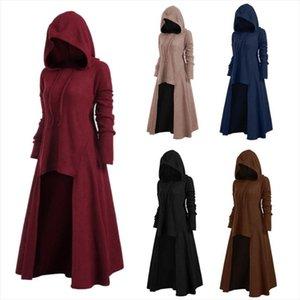 Длинные черные готические женщины с капюшоном платье панк одежда стиль плюс размер трикотажные платья для зимних топов весна осень