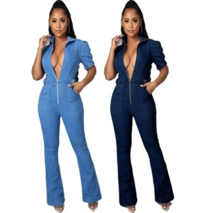 Casual Bandage Denim Rompers Womens Jumpsuit Turn Down Collar Short Puff Sleeve Flare Overall Vintage Cleavage Skinny Outfits