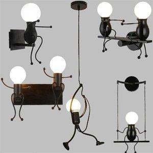 Wall Lamps Matchstick Man Cartoon Light Children's Room Kitchen Dining Bed Foyer Study Balcony Aisle Lamp
