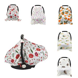 Baby Nurse Sunshade Cover Gauze Soft Muslin Cotton Car Seat Multi-Use Canopy Flower Fruit Print Stroller Sun protection
