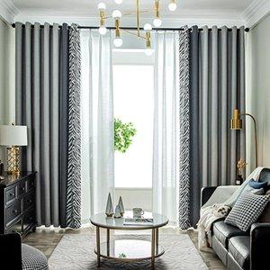 Curtain & Drapes Cloth Material Fabric Valance Blackout Living Room Curtains European Cortina Para Quarto Window EA60CL