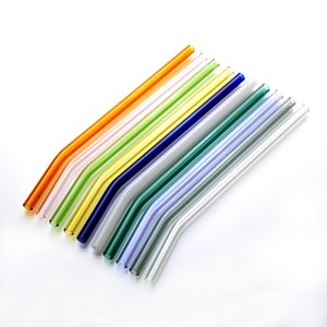 18cm Reusable Eco Friendly Glass Drinking Straws Clear Colored Curved Straight Milk Cocktail Straw