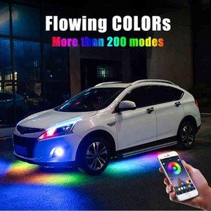 4 stücke 12V IP65 Bluetooth-App-Steuerung fließender Farbe RGB-LED-Streifen unter dem Auto 90 120 180 Röhre Unterglug Unterbody System Neonlicht 210419
