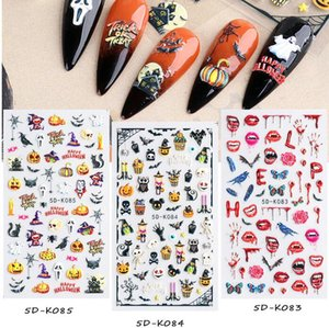 5D Red Bloody Halloween Embossed Decals Nail Stickers Scar Lips Pumpkin Bat Lace DIY Tattoo Party Decor Sliders Manicure Nails Design