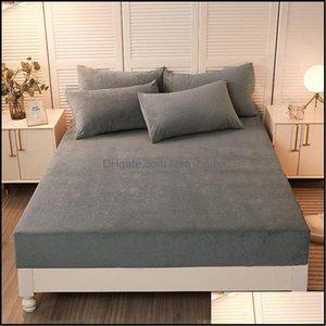 Sheets Bedding Supplies Textiles Home Gardensheets & Sets Elastic Fitted Sheet Quality Bed Linen Winter Warm Crystal Veet Mattress Er Deep 3