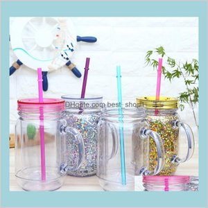 Home Garden Kitchen Dining Bar Drinkware Mugs Jar Juice Beverage Drinking Tumbler Handle Cans Double Walled Cup Straw Jtj75
