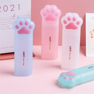 Pencil Cases 1pc Cat Claw Case Cute Soft Cartoon Frosted Storage Box Can Stand Pen Holder Kawaii Stationery School Office Supplies